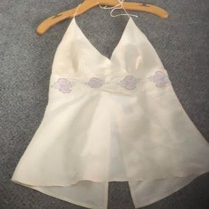 Express Halter top cream with beads. Size 5/6..